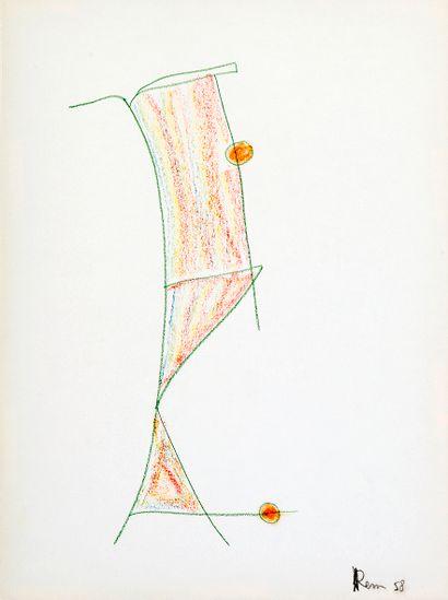 REM (1904-1974) Composition , 1958 Crayon...