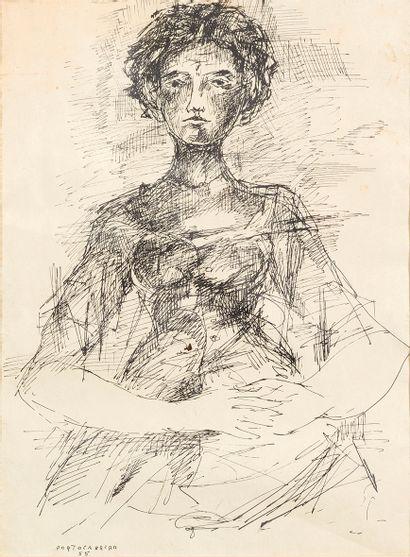 René PORTOCARRERO (1912-1986) Portrait de...