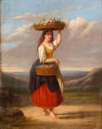 Charles VENNEMAN (1802-1875) Jeune femme...