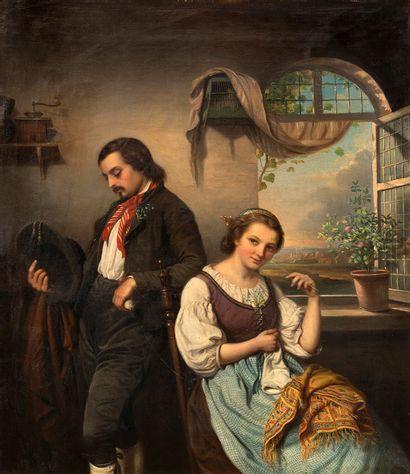 Adèle KINDT (1804-1884) Scène galante à la...