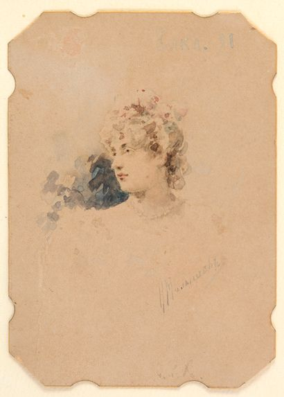 Nicolaï MALICHEFF (XIX) Portrait d'élégante...