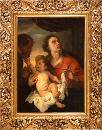 D'après Antoine VAN DYCK (Anvers, 1599 - Londres, 1641), XIXe siècle La Sainte Famille...