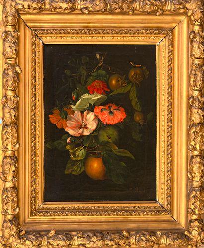 École hollandaise, fin XVIIIe siècle Nature morte aux fleurs et insectes Huile...