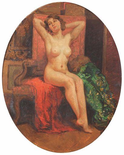 Emile BAES (1879-1954) Modèle nu dans l'atelier...