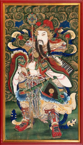 Chine, fin de la période Qing (1644-1912) Paire de peintures sur soie représentant...