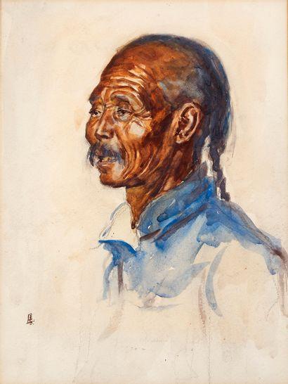 École chinoise du début du XXe siècle Portrait d'homme asiatique Aquarelle sur papier...