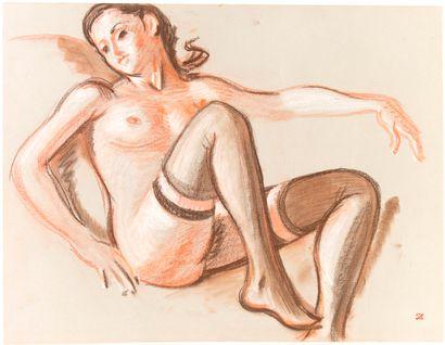 Robert LEPELTIER (1913-1996) Nu aux bas assis...
