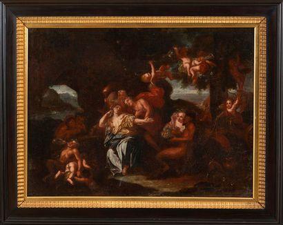École nordique, fin XVIIe siècle Bacchus et Arianeavec satyres et ménades Huile...