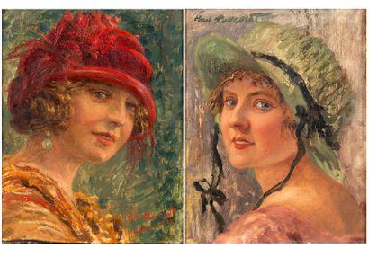 Paul PONCELET (XIX-XX) Portrait d'une jeune...