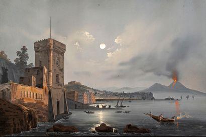 Ecole XXe siècle La baie de Naples, le Vésuve...