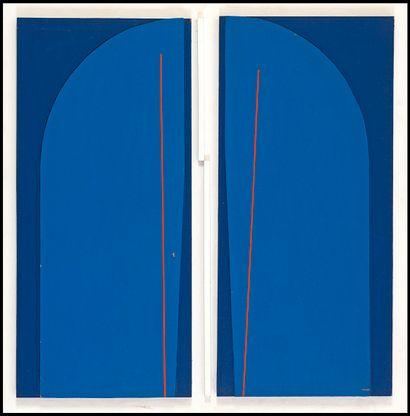 Jean DUBOIS (1923-1990) Composition bleue...