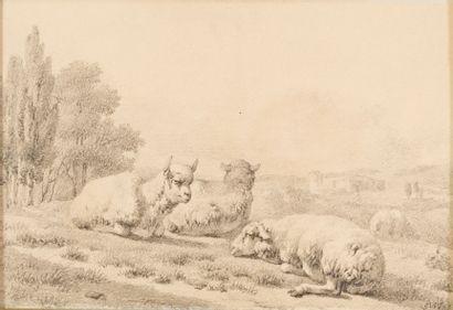 Attribué à Louis ROBBE (1806-1887) Moutons...
