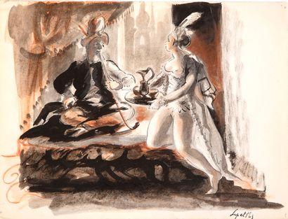 Robert LEPELTIER (1913-1996) Scène galante...