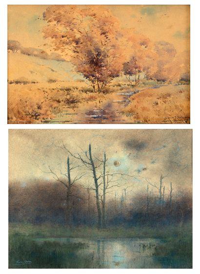 Nestor OUTER (1865-1930) Vue d'un étang...