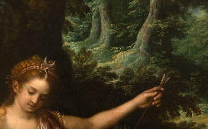 École italienne, XVIIe siècle Diane chasseresse au repos Huile sur toile rentoilée...