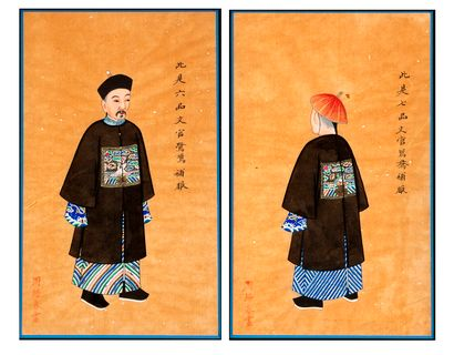 Chine, fin du XIXe siècle Paire de gouaches sur papier de riz à décor de personnages...