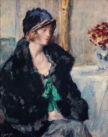 Victor ABELOOS (1881-1965) Portrait d'élégante...