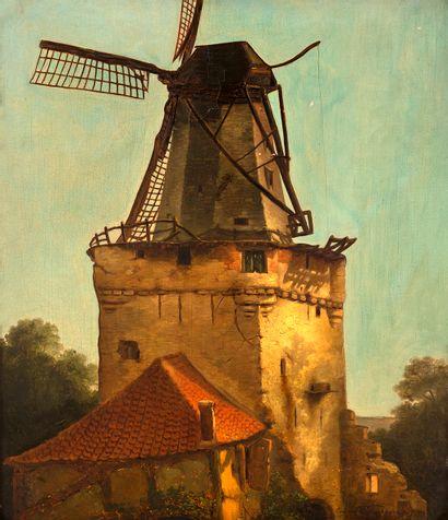Ecole belge, XIXe siècle Le moulin à vent...