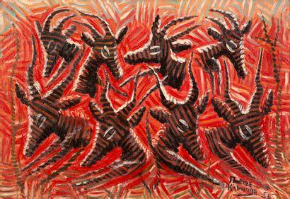 Mwenze KIBWANGA (1925-1999) Les antilopes...