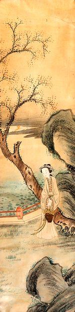 Chine, fin de la période Qing (1644-1912) Aquarelle sur papier représentant une...