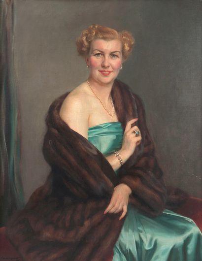 Georges GUEQUIER (1878-1957) Portrait d'élégante...