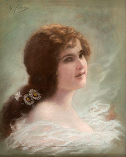 Agapit STEVENS (1849-1917/24) Profil d'élégante...