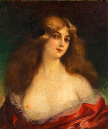Max SCHOTT (1860-?) Portrait de femme à la...