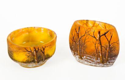 Daum Nancy Deux vases miniatures en verre...