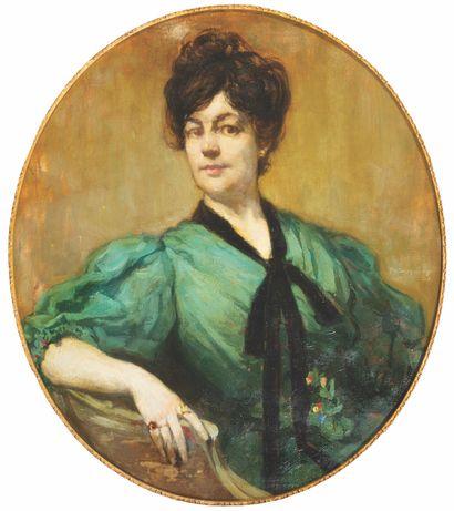Philippe SWYNCOP (1878-1949) Portrait d'élégante...
