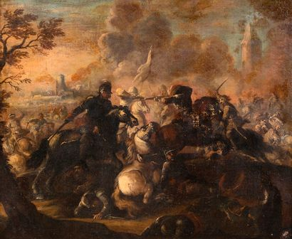 École italienne, XVIIe siècle Scène de bataille...