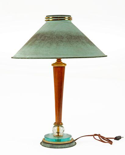 Lampe de bureau à poser en bois, verre incolore,...