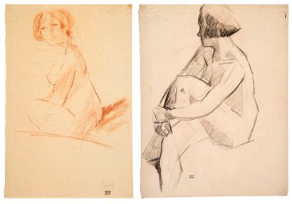 Willem PAERELS (1878-1962) Nus assis Ensemble...
