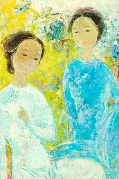 VUCao Dam(1908-2000) Deux femmes assises , circa 1960-70 Huile sur toile Signé...