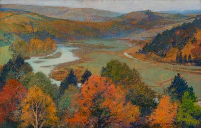 Auguste DONNAY (1862-1921) Paysage Gouache...