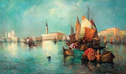 H. TOSSELLI (XIX-XX) Bateaux de pêche animés...
