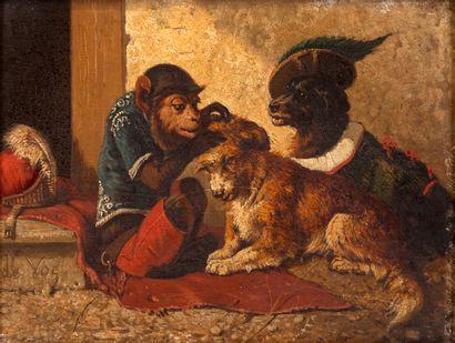 Vincent DE VOS(1829–1875) Un singe avec...