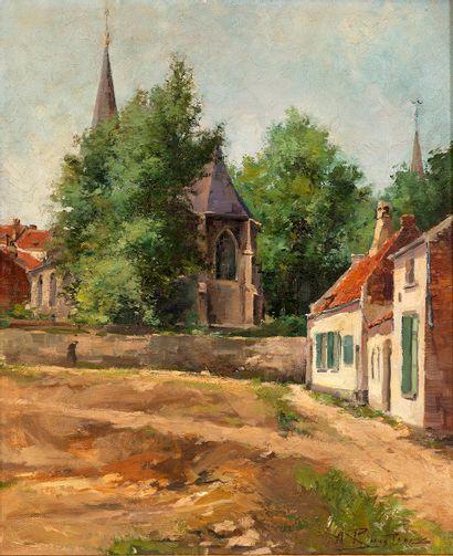 Alfred RUYNTINX (1871-1908) Coin de village...