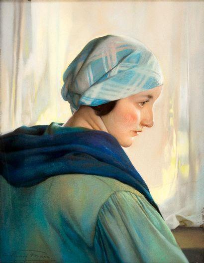Firmin BAES (1874-1945) Le bonnet bleu Pastel...