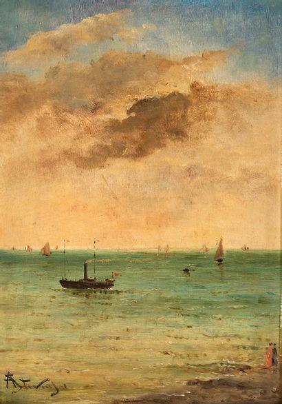 Alfred STEVENS (1823-1906) Marine avec personnages...