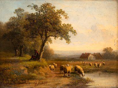 Ecole belge, XIXe siècle Berger et ses moutons...