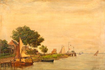 Henri Louis PERMEKE (1849-1912) Bord de mer...