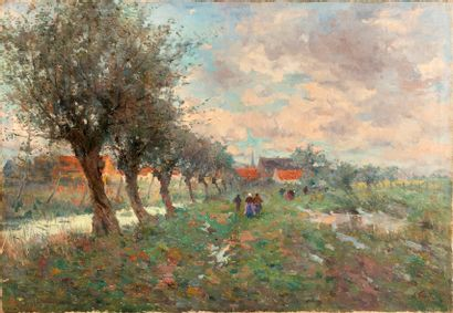 Lucien FRANK (1857-1920) Paysage flamand...