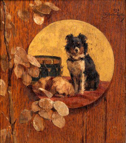 Charles VAN DEN EYCKEN (1859-1923) Chiens...