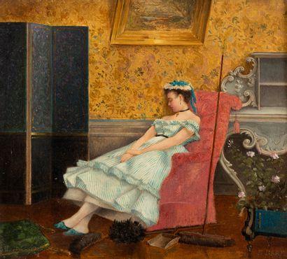 Emil BARE (XIX) Jeune fille endormie dans...