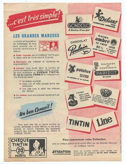 """Tintin : Catalogue """" Chèques Tintin """" de 1955 (2 volets) présentant la liste des..."""
