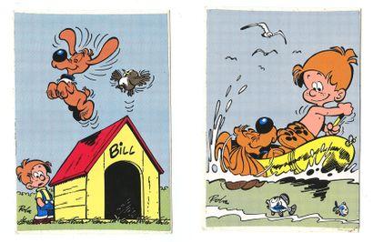 Roba : Boule et Bill , ensemble de 5 cartes autocollantes (Ed. Dupuis, 1973). Très...