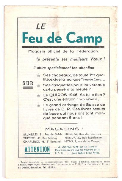 """Franquin : Revue mensuelle """" Carrefour des routiers """" n°9-10 (Noël 1945). Couverture..."""