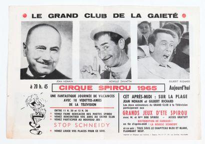 """Spirou : Prospectus du Cirque Spirou de 1965 (plié en 2). Mentionné dans """"Les Trésors..."""