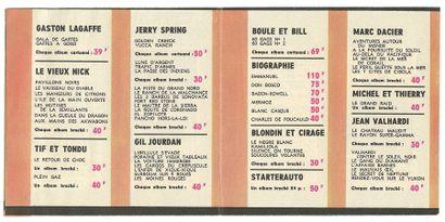"""Dupuis : Catalogue éditeur """" Printemps """" de 1965 (en accordéon, 3 volets). Très bon..."""