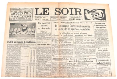 Tintin : Le Soir , page du 2 décembre de 1943 avec une illustration de Tintin annonçant...